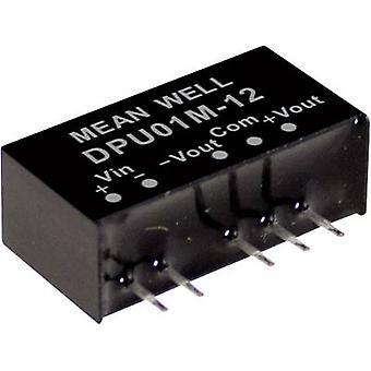 Keskimääräinen DPU01N-15 DC/DC-muunnin (moduuli) 33 mA 1 W Ei. lähtöjen määrä: 2 x