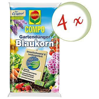 Sparset: 4 x COMPO Garden fertilizer Blue grain® NovaTec® 3 kg