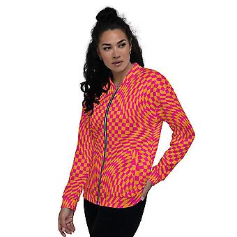 All-Over Print Unisex BomberJacke | Rosa und Orange Checker