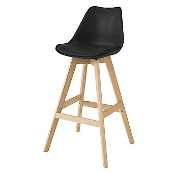 SoBuy FST69-SCH,Kitchen Breakfast Barstool, Bar Stool with PU Leather Padded Seat & Beech Wood Legs
