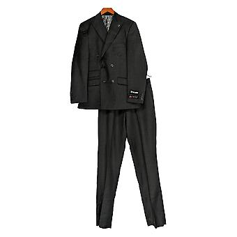 Stacy Adams Men's Double Breasted Suit Charcoal Gray