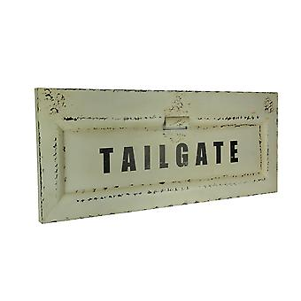 Distressed White Metal Vintage Pickup Truck Tailgate Wall Hanging 45 inch Long