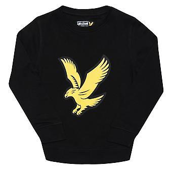 Boy's Lyle und Scott Junior Logo Crew Fleece Pullover in schwarz