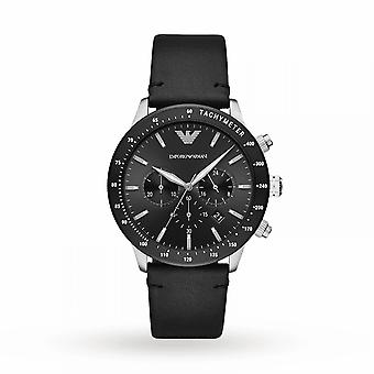 Armani Watches Ar11243 Black Leather & Silver Stainless Steel Men's Watch