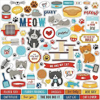 Echo Park I Love My Cat 12x12 pulgadas elemento pegatina