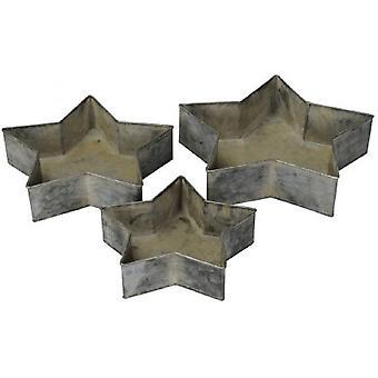 Bandejas de metal estrela (conjunto de 3)