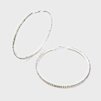 Silver Large Crystal Hoops