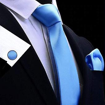 Light baby blue tie cuff link & pocket square set