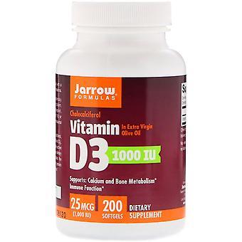Fórmulas Jarrow, Vitamina D3, Cholecalciferol, 1.000 UI, 200 Softgels