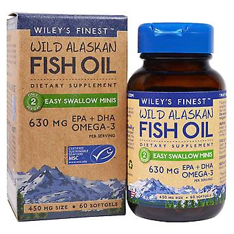 Wiley's Finest, Wild Alaskan Fish Oil, Easy Swallow Minis, 450 mg, 60 Softgels
