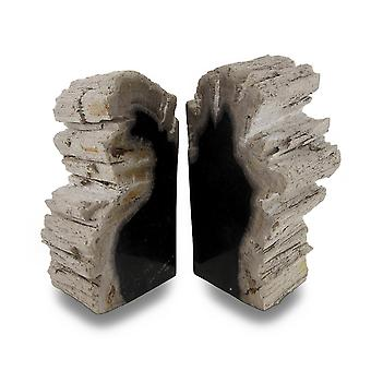 Indonesian Dark Colored Petrified Wood Bookends 6-8 Pounds