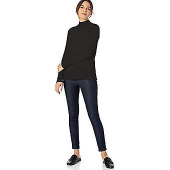 Marque - Lark & Ro Women's Rib Detail Mock Neck Sweater, Noir, Moyen