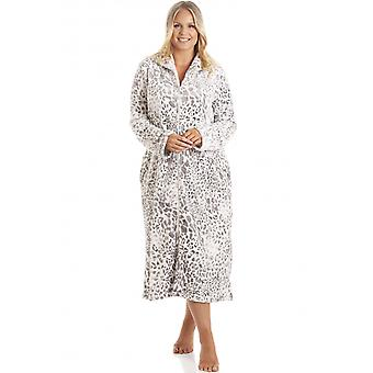 Camille Womens Supersoft Fleece Animal Print Lounger Grey