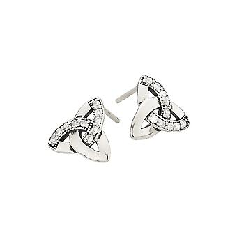 Heritage Sterling Silver Celtic Trinity Knot Cubic Zirconia Stud Earrings 3289CZ026