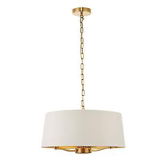 Endon Beleuchtung - 3 Licht Decke Anhänger Satin gebürstet Gold, Vintage weiße Seide Effekt, E14