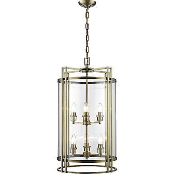 Plafond Pendentif Lanterne 6 Laiton Antique Clair, Verre