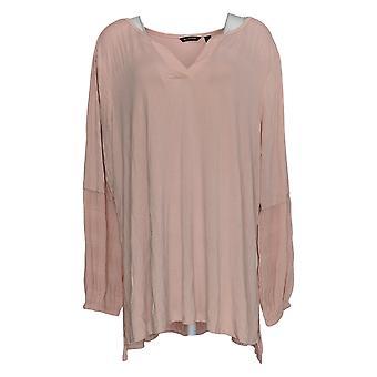 H by Halston Women's Plus Top Knit W/ Chiffon Sleeves Pink A343458