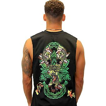 Oriental Fish Black Vest
