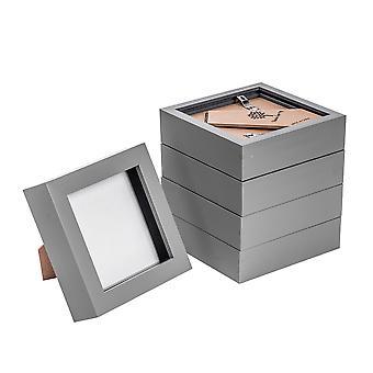 Nicola Spring Photo Frame - Marco de caja de acrílico (cubierta de vidrio) - 4x4in - gris - paquete de 5