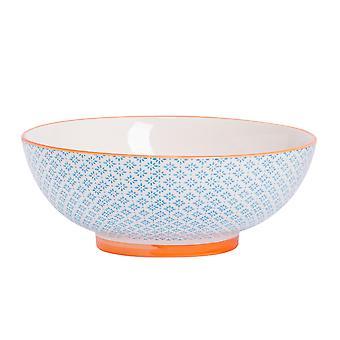 Nicola Spring Hand-Printed Fruit Bowl - Japanese Style Porcelain Pasta Salad Serving Bowls - Blue - 31.5cm