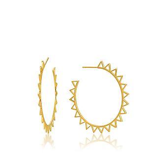 Ania Haie Sterling Silver Shiny Gold Plated Spike Hoop Earrings E008-03G