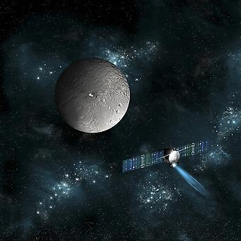 An artists depiction of the Dawn spacecraft as it approaches an encounter with Ceres The satellite will investigate the two bright spots on the surface of the dwarf planet Poster Print