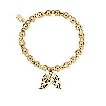 ChloBo GBMSB701 Women's Gold Tone Mini Small Ball Double Angel Wing Bracelet