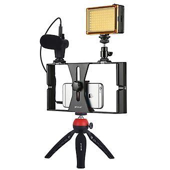 PULUZ 4 in 1 Vlogging Trasmissione in diretta LED Selfie Luce Smartphone Video Rig Kit con microfono + Supporto treppiede + Cold Shoe Tripod Head per iPhone, Gal