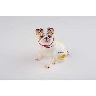Valkoinen Bulldog-koiran helylaatikko