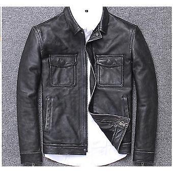 Kravská koža Bunda Muži Originálne kožený kabát Vintage Ležérne Outwear Klasické oblečenie