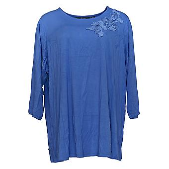 Dennis Basso Mujeres's Plus Top Soft Touch Knit Tunic Applique Azul A349306