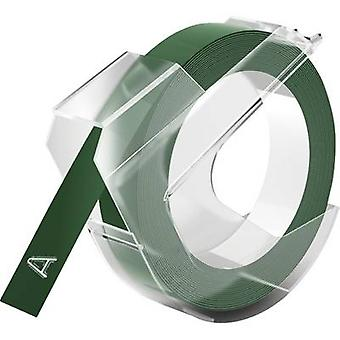 DYMO 3D Tape colour: Green Font colour: White 9 mm 3 m