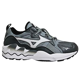 Mizuno Sport Style Wave Rider 1 Grey Lace Up Mens Running Trainers D1GA192705