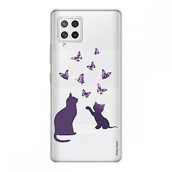 Scafo per Samsung Galaxy A42 5g in silicone flessibile 1 mm, gattino che gioca con butterfly