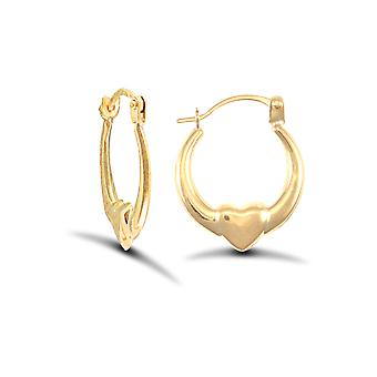 Jewelco London Ladies 9ct Yellow Gold Simple Claddagh (Chladaigh) Creole Earrings