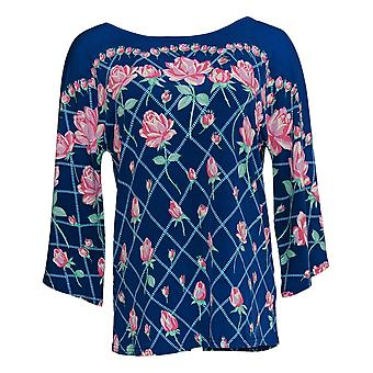 Bob Mackie Women's Top Rose Trellis Print Knit Blue A352097