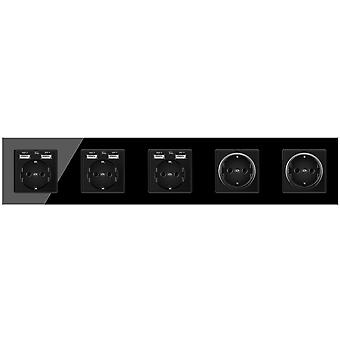 Glass Panel Five-slot Power Socket Without Pins With 6 Usb Charging Port