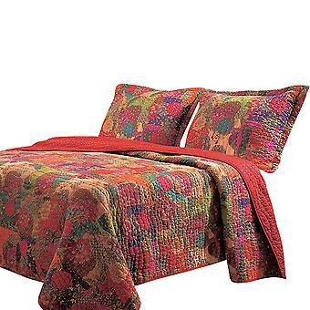 Tisa 3 piezas reversible King Quilt Set con patrón floral y frutal, multicolor