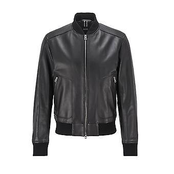 BOSS casualwear jefe nipet cuero bomber chaqueta negra