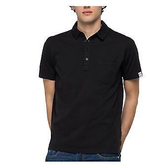 Replay Jeans Replay Mens Short Sleeve Polo Shirt Organic Cotton Black