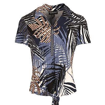 Frank Lyman Navy Blue Palm Print Zip Up Short Sleeve Jersey Top