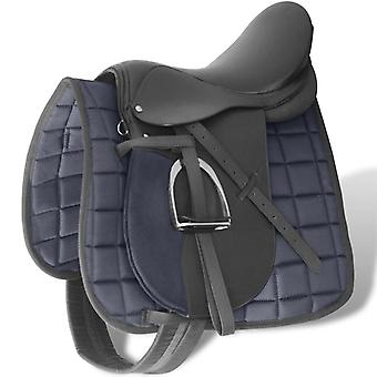 """Montar a caballo Saddleset 16"""" cuero genuino negro 14 cm 5 en 1"""