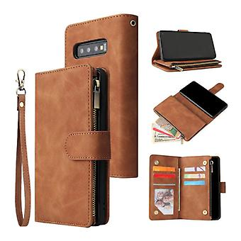 Stuff Certified® Samsung Galaxy S10 Plus - Leather Wallet Flip Case Cover Case Wallet Brown