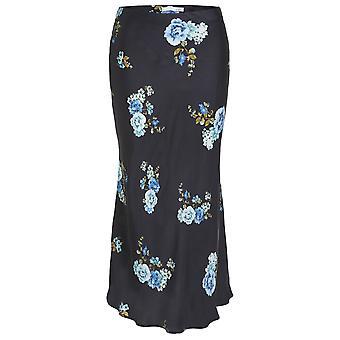 Oui Silky Floral Print Midi Skirt