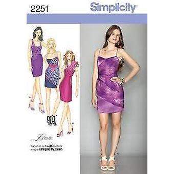 תבנית תפירה פשטות 2251 מתגעגע שמלות שני אורכים גודל 4-12 D5