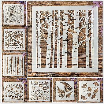 8pcs/set 13cm Tree Leaf Ginkgo Bud Diy Layering Stencils Painting Scrapbook
