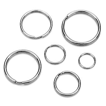 10pcs/lot Stainless Steel Key Chain Key Ring Round Flat Keyrings Key Holder