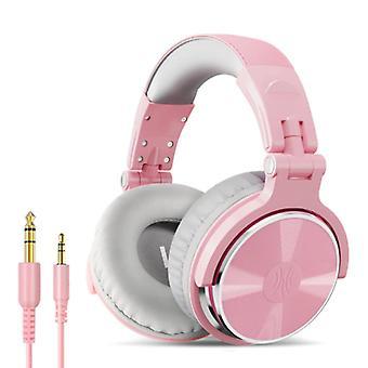 """אוזניות OneOdio Studio עם חיבור AUX בגודל 6.35 מ""""מ ו-3.5 מ""""מ - אוזניות עם אוזניות DJ למיקרופון ורוד-לבן"""