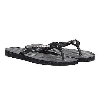Havaianas Slim Sparkle Womens Black Flip Flops