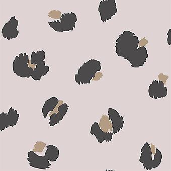 Stort leopard spot pink tapet